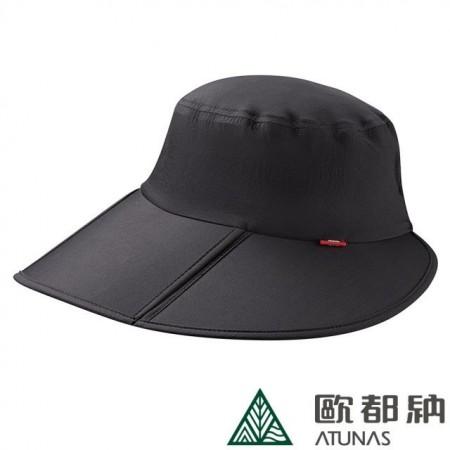 【ATUNAS 歐都納】女款大帽簷防曬超輕透氣摺疊盤帽 (黑/桃紅) A-A1908W