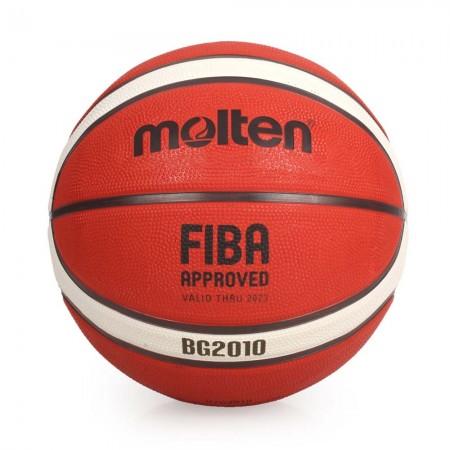 【MOLTEN】12片橡膠深溝籃球 7號籃球 室外籃球  教學用籃球 (原皮橘+黃) B7G2010