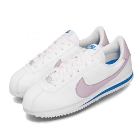 NIKE 大童 女款 休閒鞋 Cortez Basic 運動鞋 女鞋 經典阿甘鞋 舒適 穿搭 簡約 復古 白 紫 904764-108