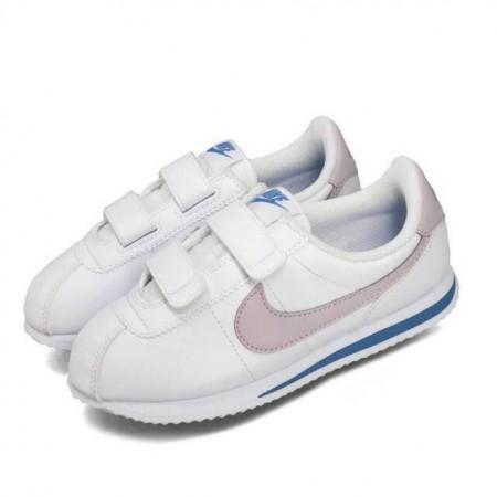 NIKE 中童 休閒鞋 Cortez Basic SL 運動鞋 童鞋 經典款 阿甘鞋 魔鬼氈 簡約 穿搭  白 淡紫 904767-108