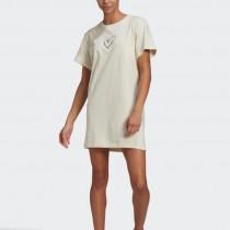 【adidas 愛迪達】洋裝 女款 長版上衣 運動 連身裙 米色 GJ6525