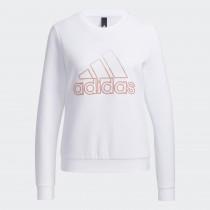 adidas 愛迪達 女款 長袖上衣 大學T恤  白 GP0702