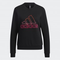 adidas 愛迪達 女款 長袖上衣 大學T恤 黑 GP0704