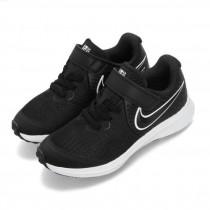 NIKE 中童 慢跑鞋 Star Runner 2 運動鞋 童鞋 輕量 透氣 舒適 魔鬼氈   黑 白AT1801-001