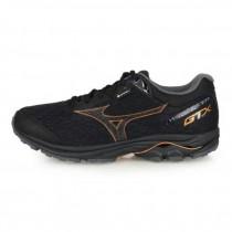MIZUNO 美津濃 WAVE RIDER GTX 男款 防水 慢跑鞋 路跑 黑棕 J1GC187910