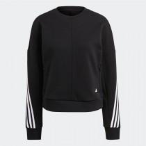 adidas 愛迪達 女款 WRAPPED 3-STRIPES 上衣 T恤  黑 長袖 GL0343